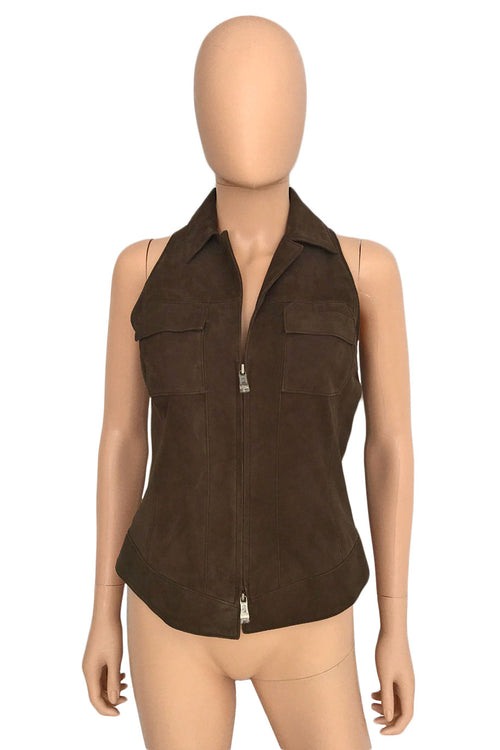 Worth Zip-Front Brown Suede Vest or Sleeveless Top / Sz 0