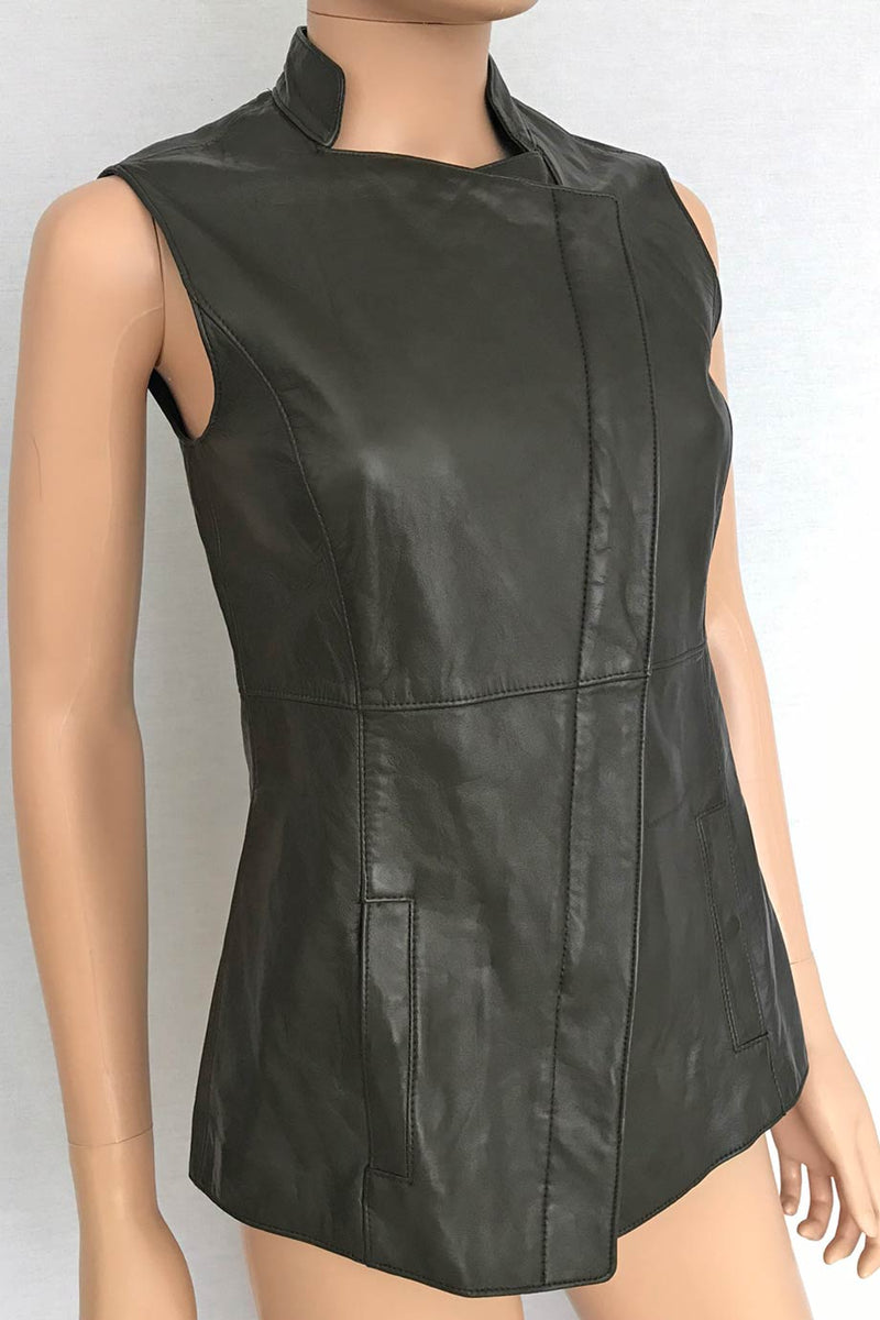 W by Worth Solid Olive Green Leather Hip-Length Vest / Sz 0-Style Therapy