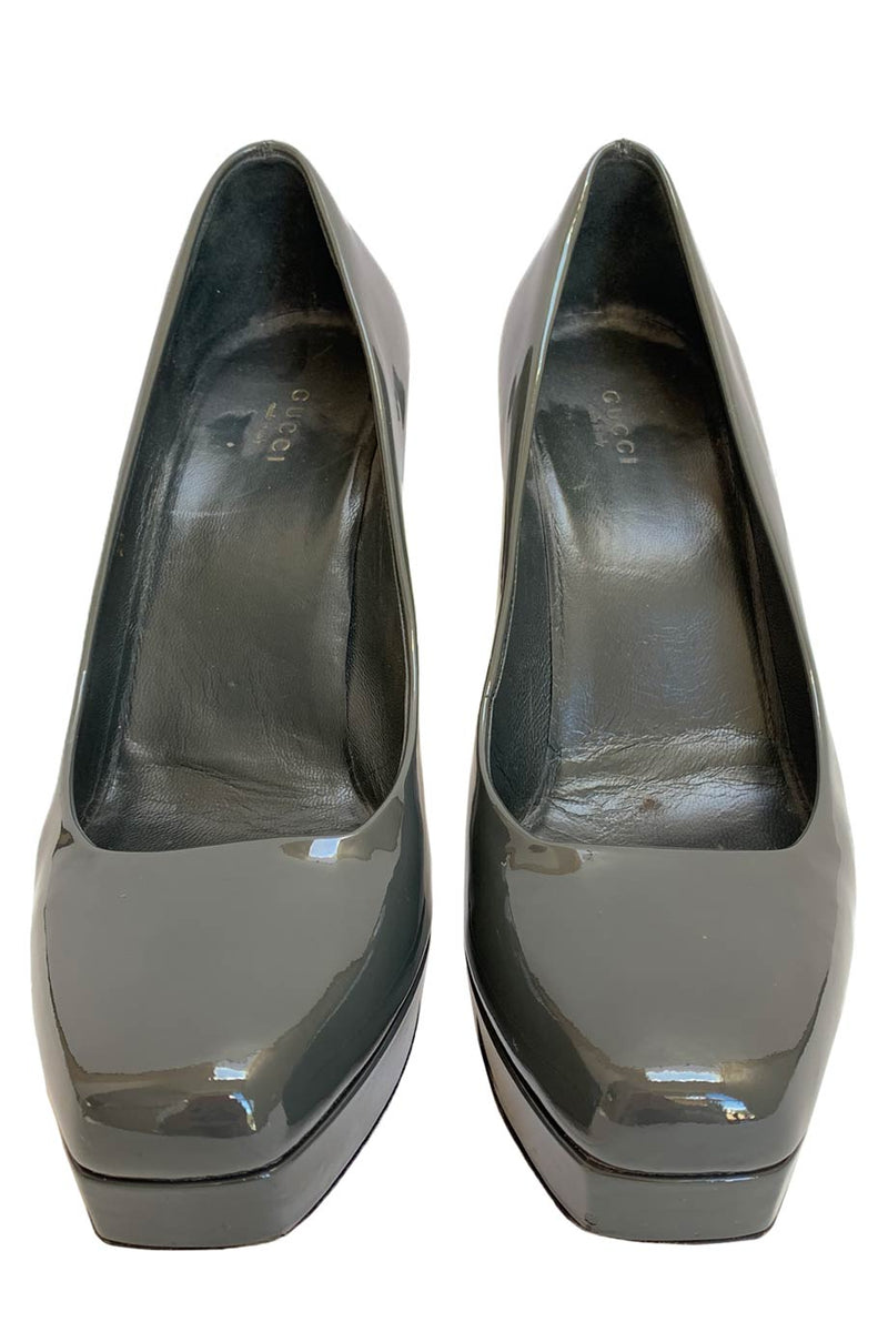 Gucci Dusk Gray-Green Patent Leather Platform Pumps / Sz 39.5-Style Therapy