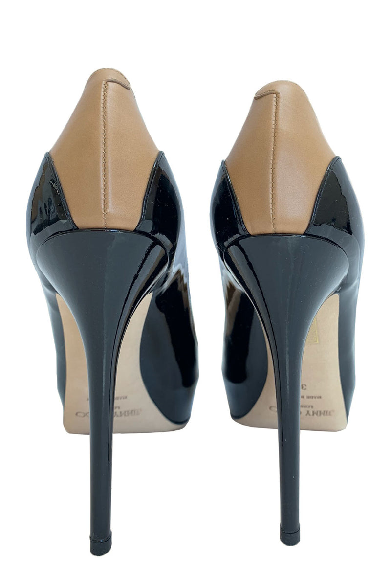 "Jimmy Choo Two-Tone Leather ""Sepia"" Stiletto Heel Pumps / Sz 39-Style Therapy"