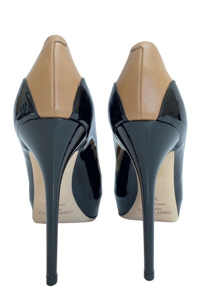 "Jimmy Choo Two-Tone Leather ""Sepia"" Stiletto Heel Pumps / Sz 39"