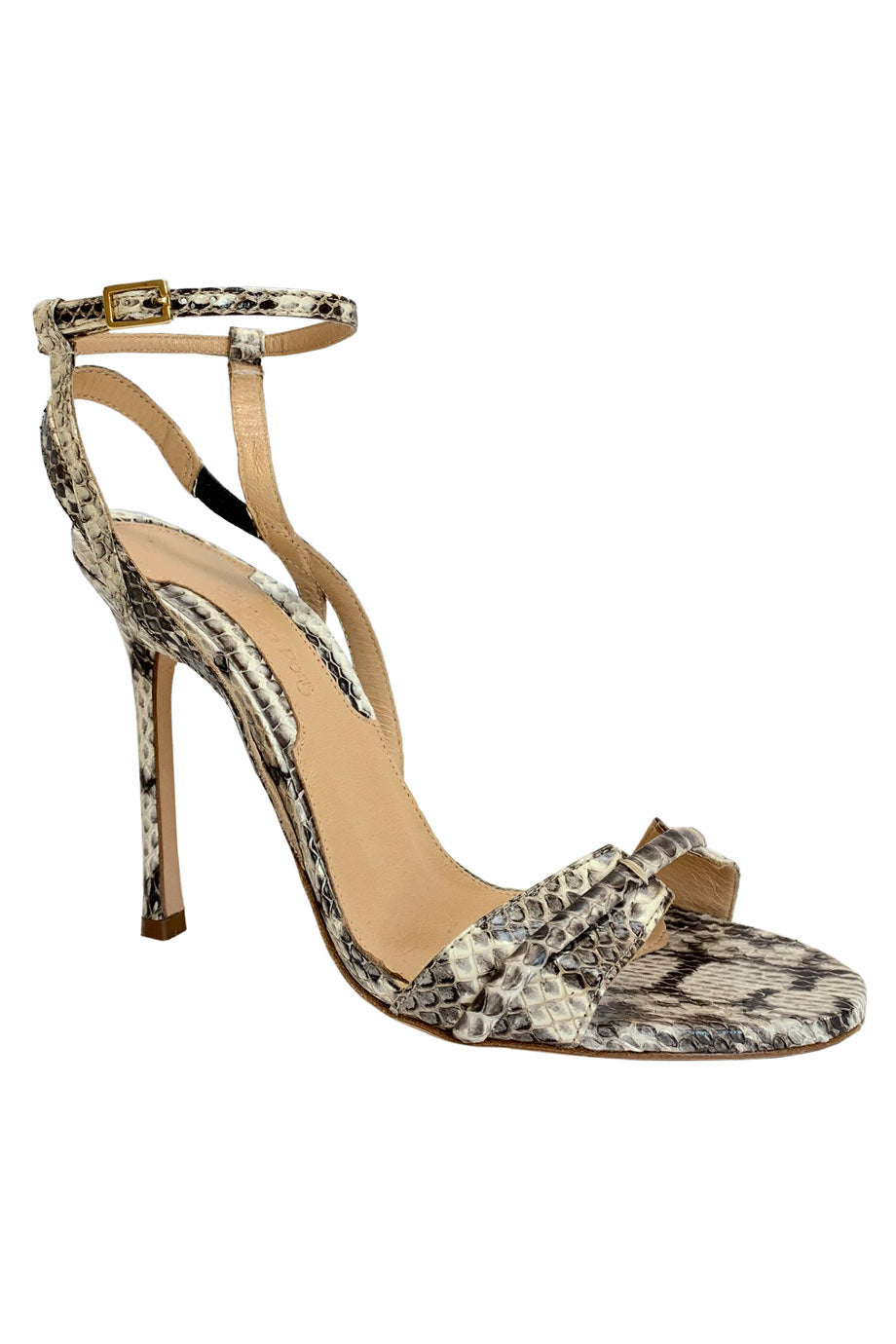 Chelsea Paris Neutral Snakeskin Strappy Stiletto Sandals / Sz 37-Style Therapy