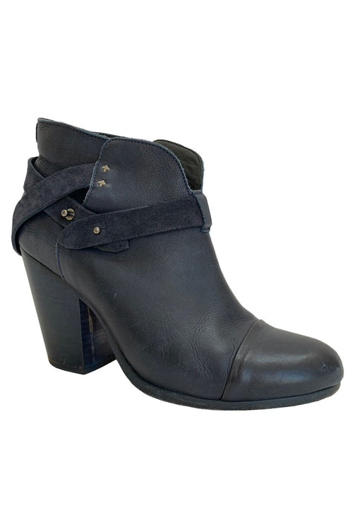 Rag & Bone Solid Navy Blue Leather Harrow Ankle Booties / Sz 40