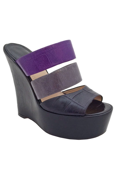 Baldan Black + Purple Croc Print Leather Wedge Slide Sandals / Sz 37 - Style Therapy  - 1