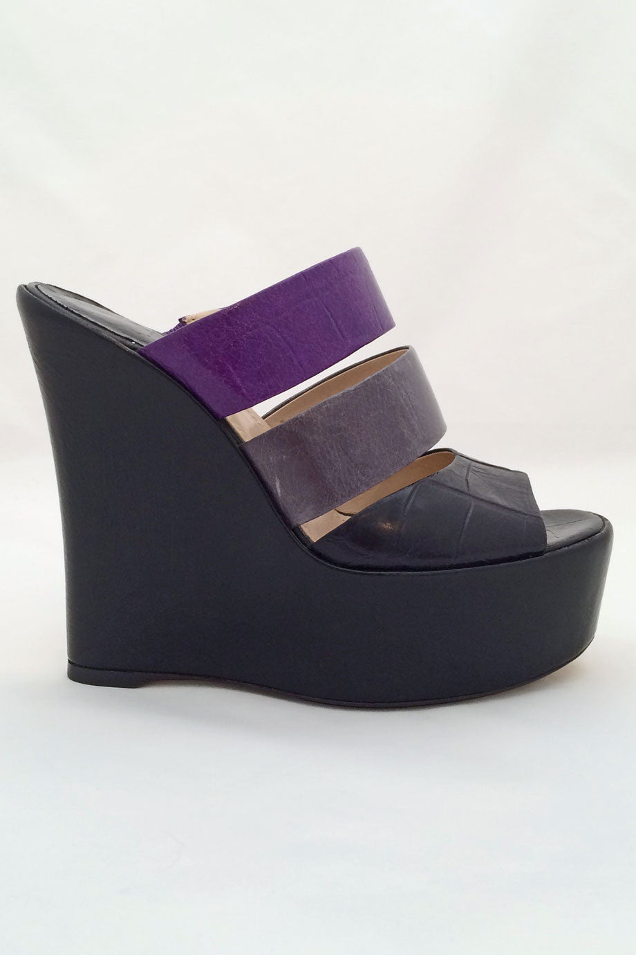 Baldan Black + Purple Croc Print Leather Wedge Slide Sandals / Sz 37 - Style Therapy  - 2