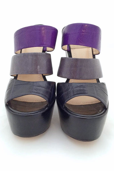 Baldan Black + Purple Croc Print Leather Wedge Slide Sandals / Sz 37 - Style Therapy  - 3