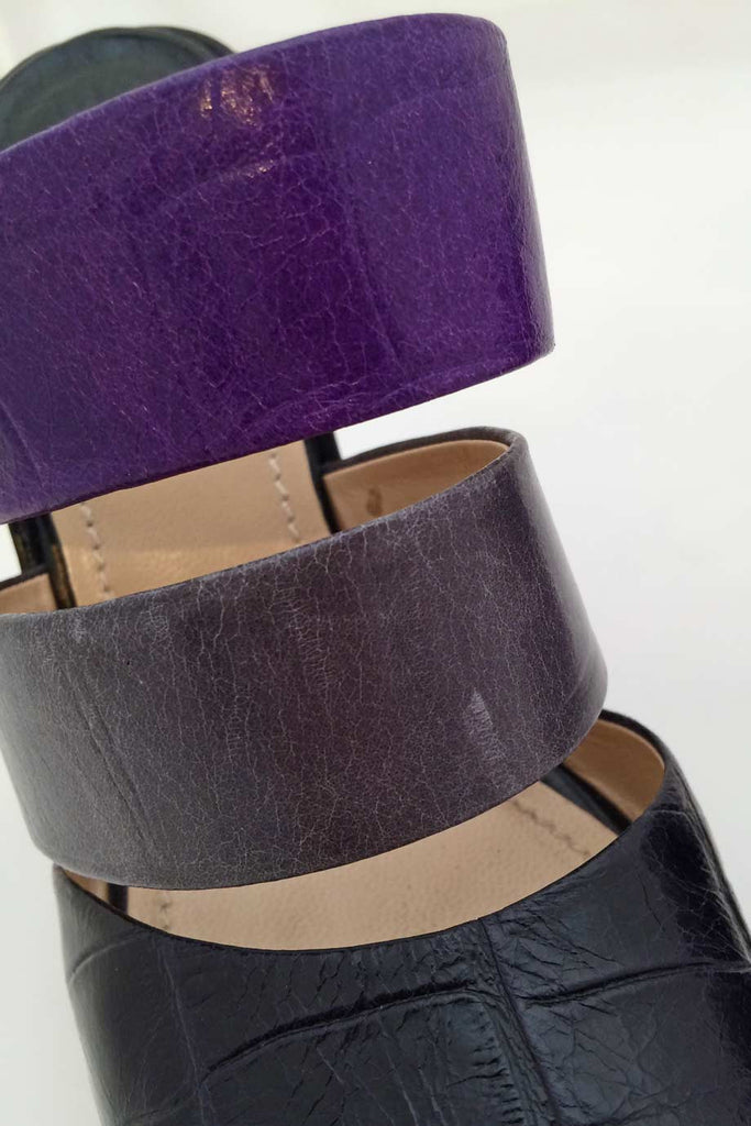 Baldan Black + Purple Croc Print Leather Wedge Slide Sandals / Sz 37 - Style Therapy  - 4