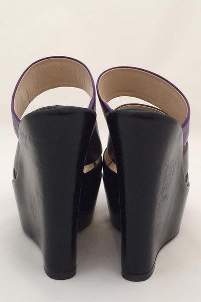 Baldan Black + Purple Croc Print Leather Wedge Slide Sandals / Sz 37 - Style Therapy  - 5
