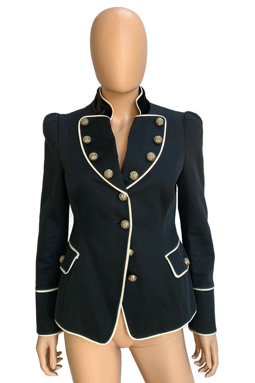 Moschino Cheap and Chic Black Cotton-Blend Military Jacket / Sz 44