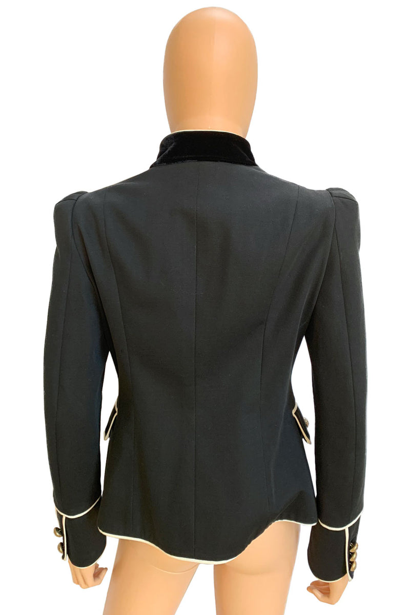 Moschino Cheap and Chic Black Cotton-Blend Military Jacket / Sz 44-Style Therapy