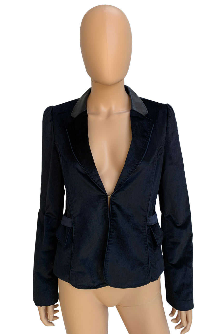 Strenesse Gabriele Strehle Navy Blue Velvet + Leather Blazer / Sz 8-Style Therapy
