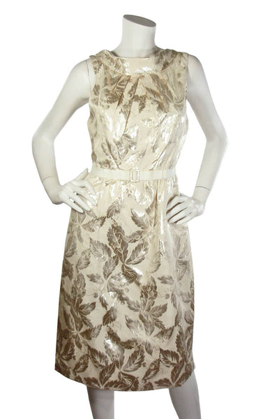 Charles Chang Lima Metallic Silver + Beige Leaf Print Dress / Sz 10 - Style Therapy  - 1