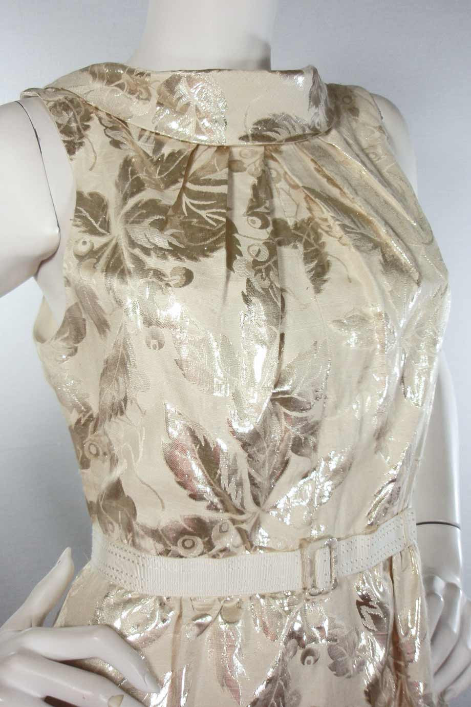 Charles Chang Lima Metallic Silver + Beige Leaf Print Dress / Sz 10 - Style Therapy  - 2