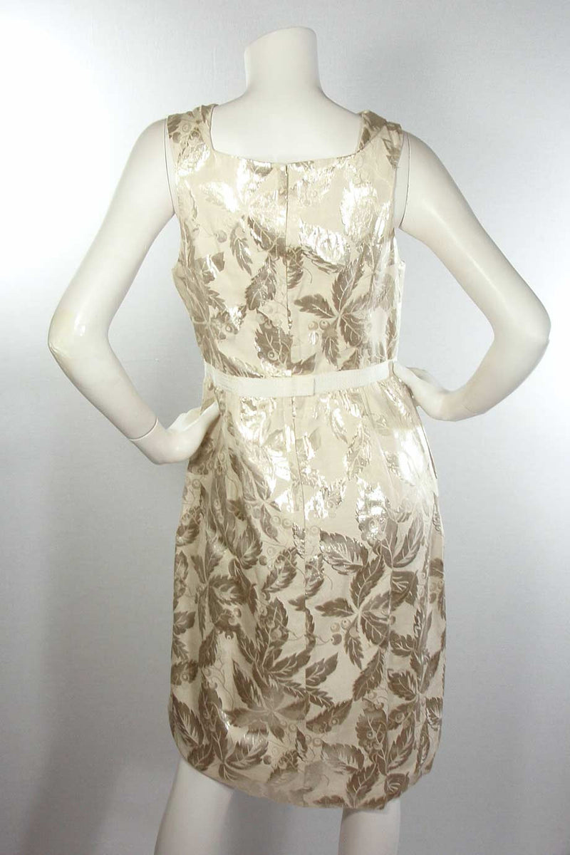 Charles Chang Lima Metallic Silver + Beige Leaf Print Dress / Sz 10 - Style Therapy  - 4