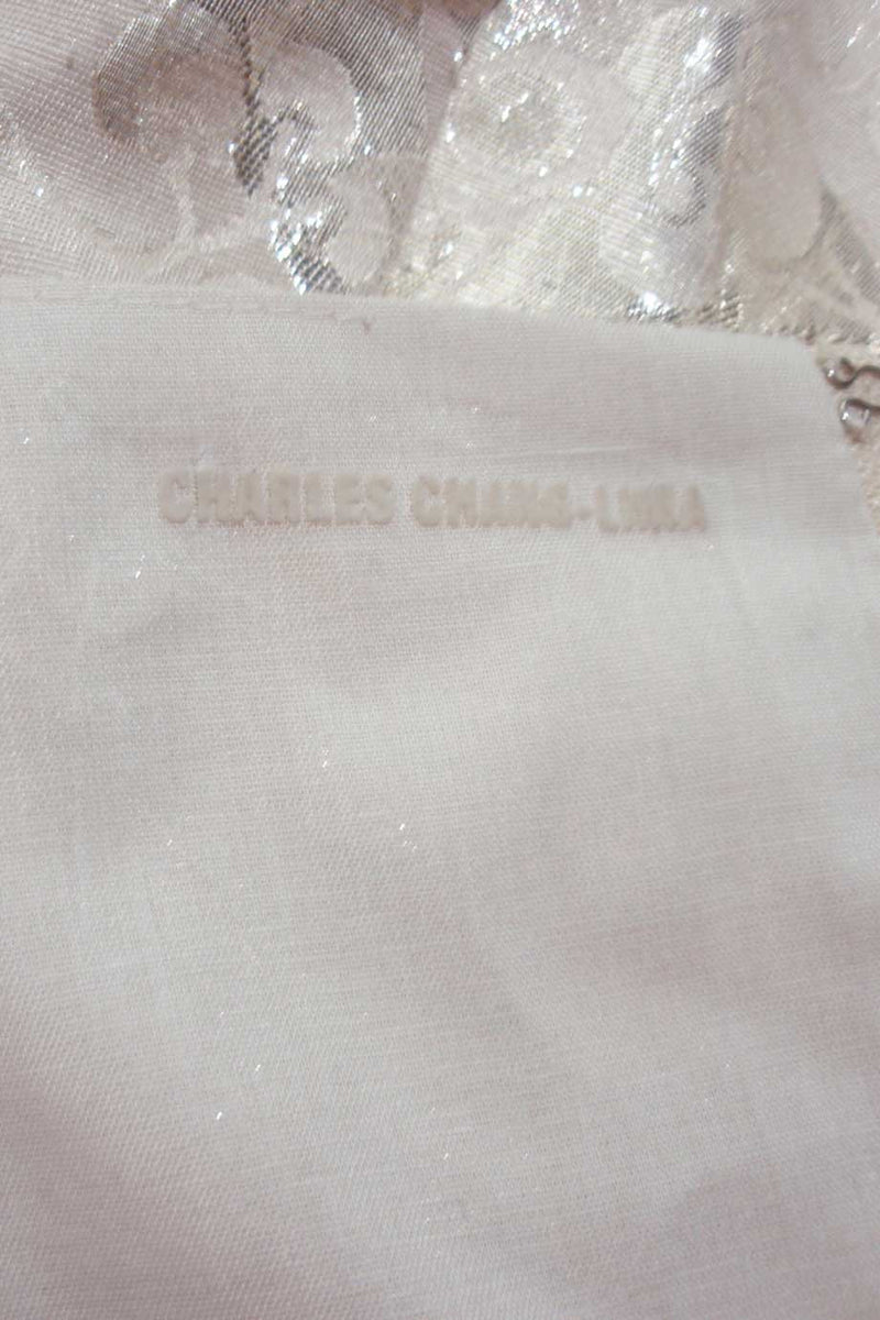 Charles Chang Lima Metallic Silver + Beige Leaf Print Dress / Sz 10 - Style Therapy  - 5