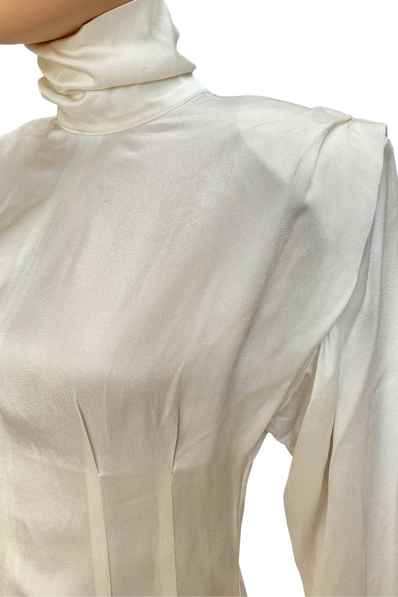 Astier Ivory Crepe Pleated Long Sleeve Turtleneck Blouse / Sz 4-Style Therapy