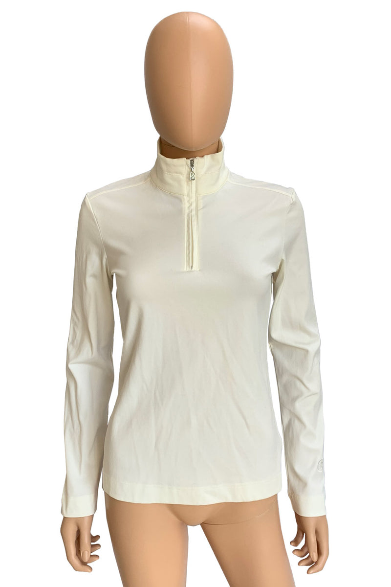Bogner Ivory Knit 1/2 Zip Pullover Ganna Mock Neck Top / Sz XS-Style Therapy