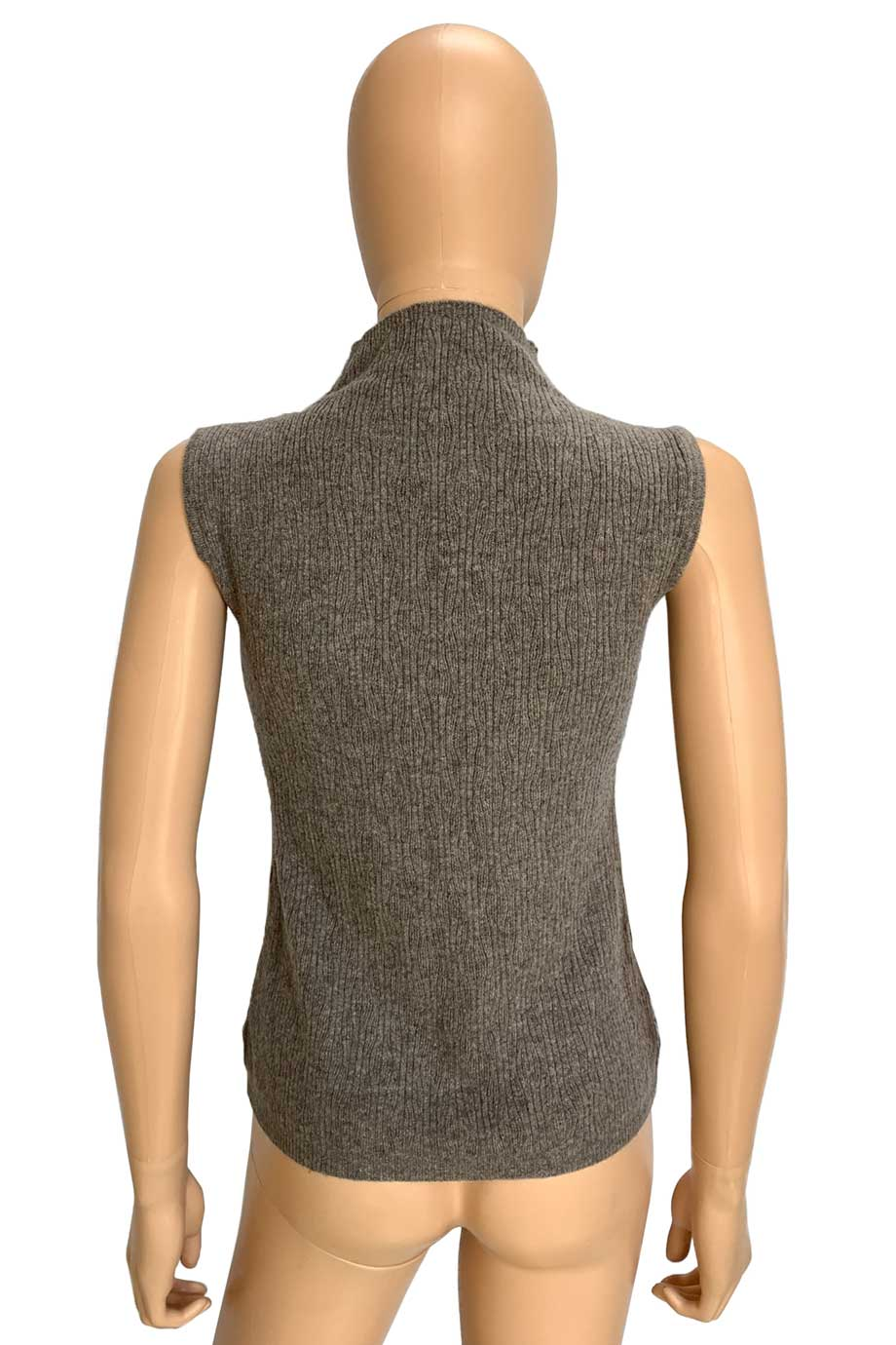 Worth Heather Beige Wool-Blend Sleeveless Mock Neck Sweater / Sz XP-Style Therapy