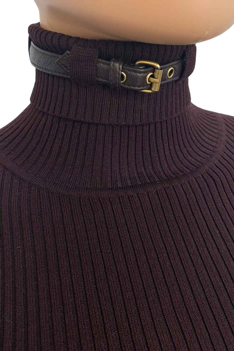 Worth Wine Red Rib-Knit Sweater + Buckled Leather Accent / Sz XP-Style Therapy