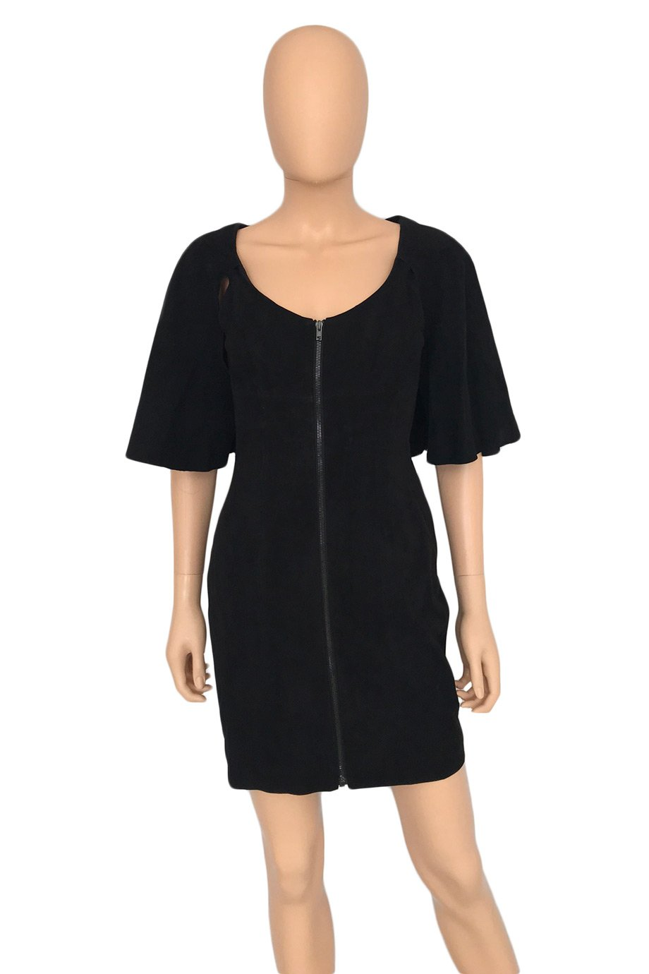 Alexander Wang Black Suede Zip-Front Cape Mini Dress / Sz 4-Style Therapy
