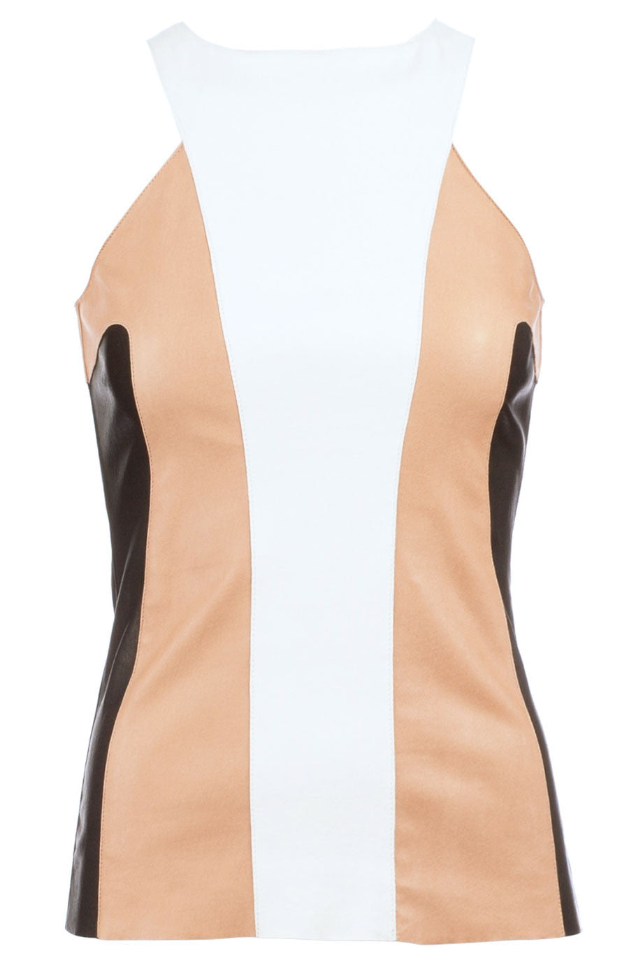 DROMe Beige Black + White Colorblock Leather Tank Top / Sz M - Style Therapy  - 1