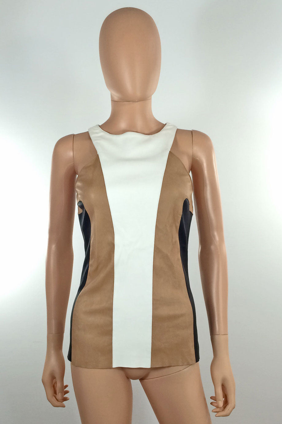 DROMe Beige Black + White Colorblock Leather Tank Top / Sz M - Style Therapy  - 2
