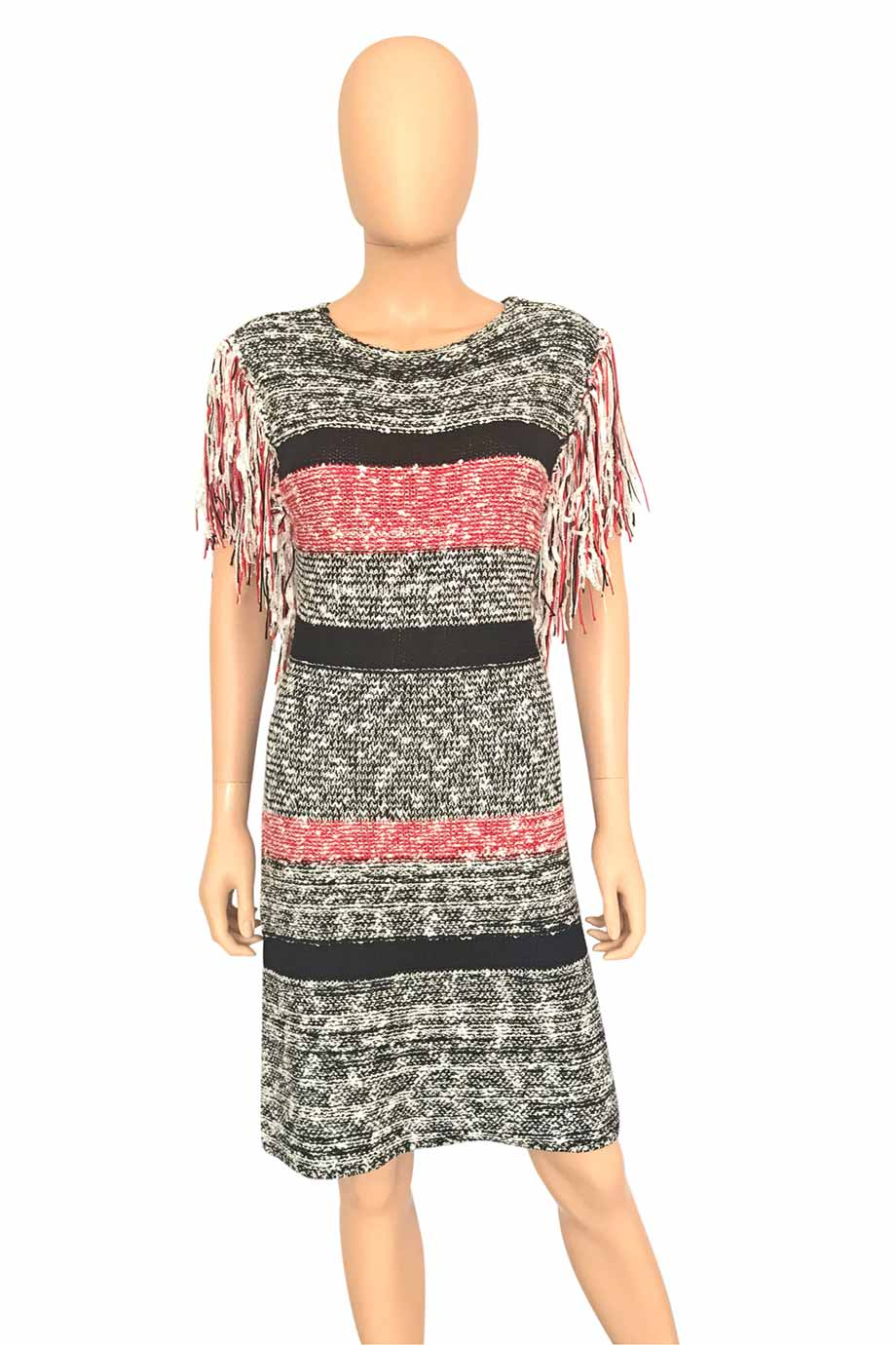 Endless Rose Fringed Red + Black Stripe Sweater Dress / Sz L-Style Therapy