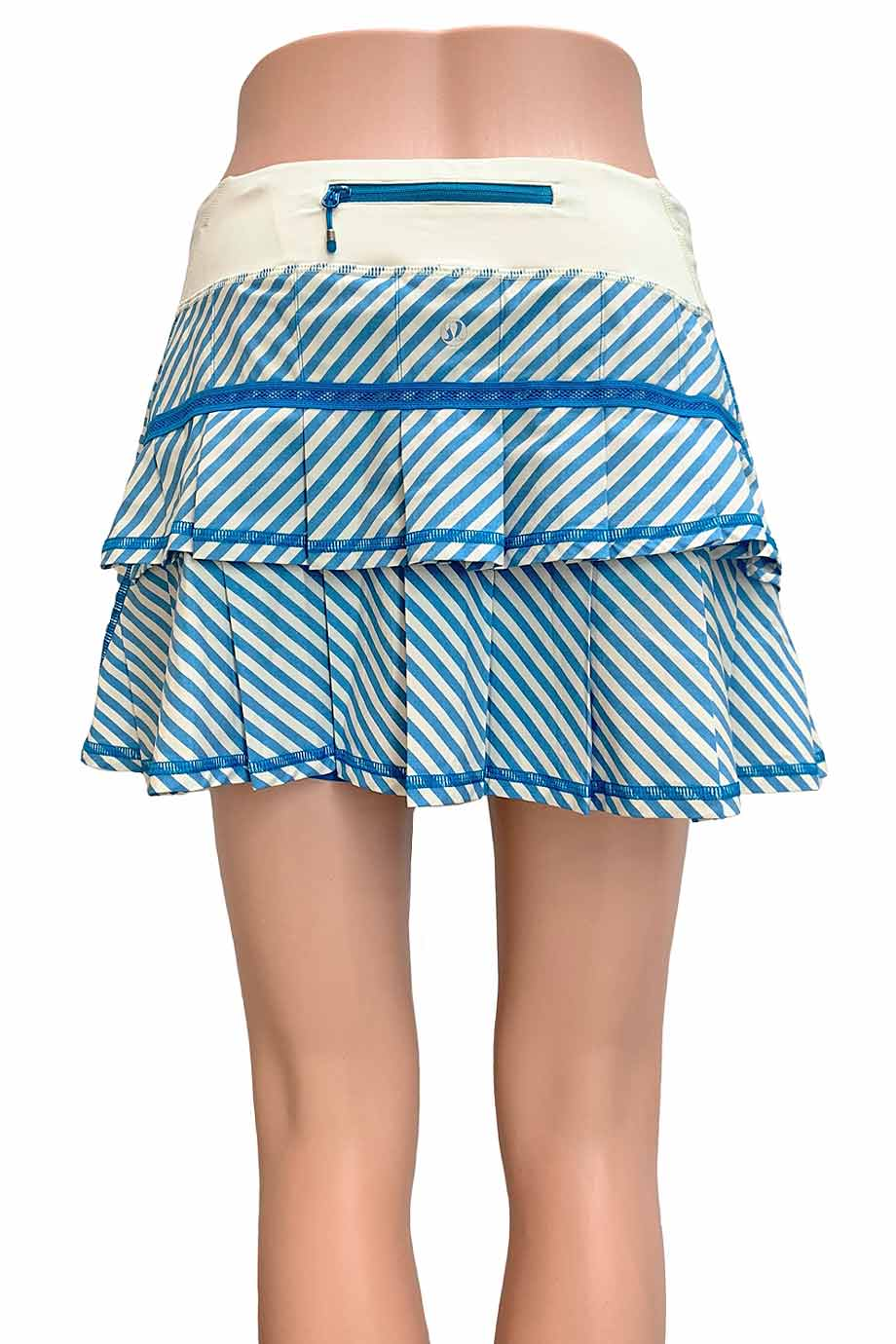 Lululemon Blue + Cream Classic Stripe Pace Setter Skirt / Sz 6