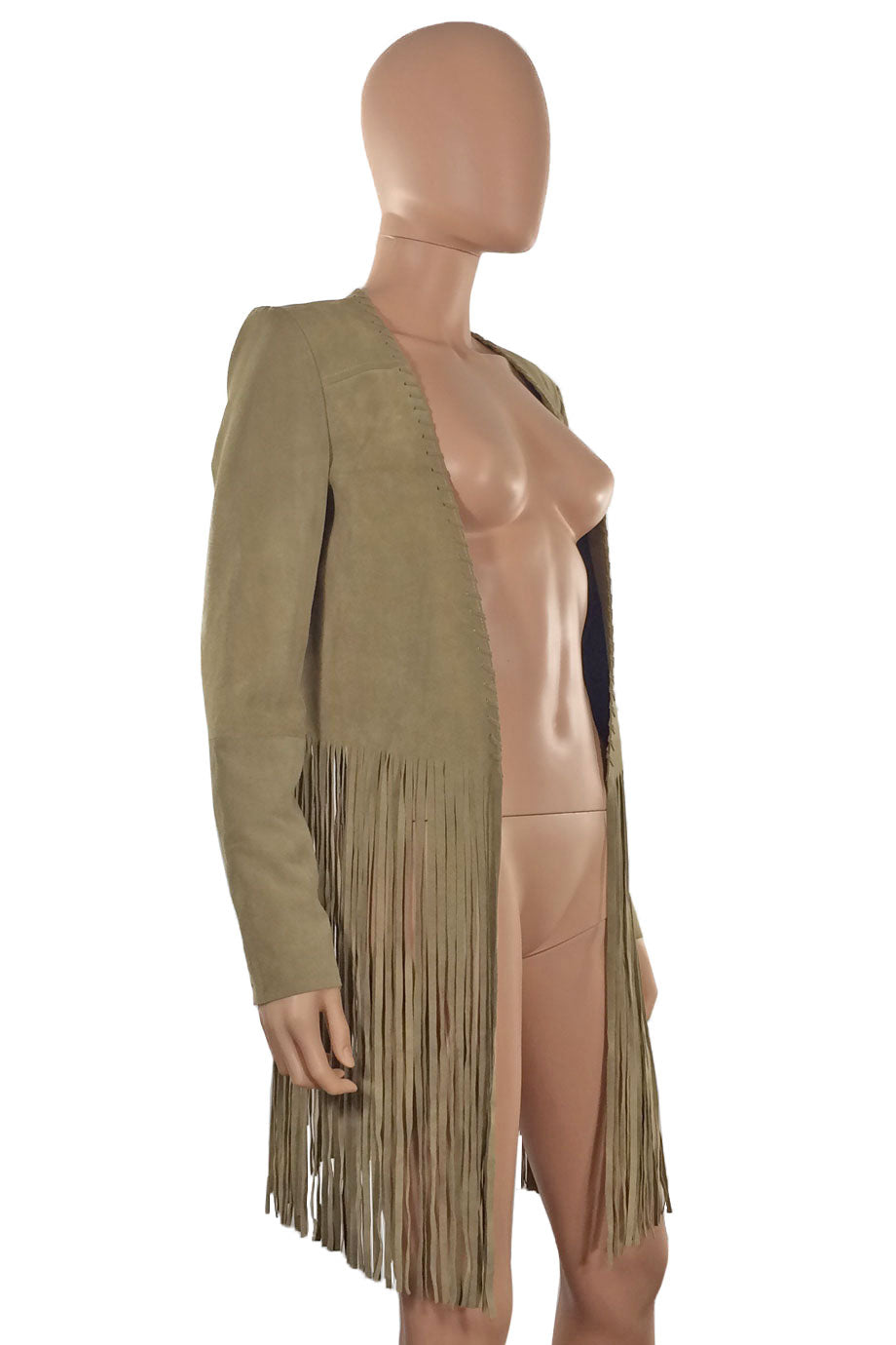 ThePerfext Tan Suede Christy Fringe Trim Open Front Jacket / Sz S-Style Therapy