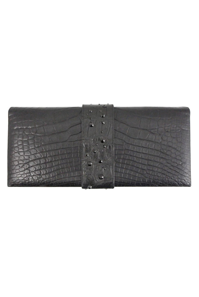Alexandra Knight Matte Black Alligator Clutch Bag - Style Therapy  - 1