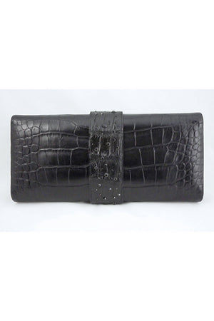 Alexandra Knight Matte Black Alligator Clutch Bag - Style Therapy  - 4