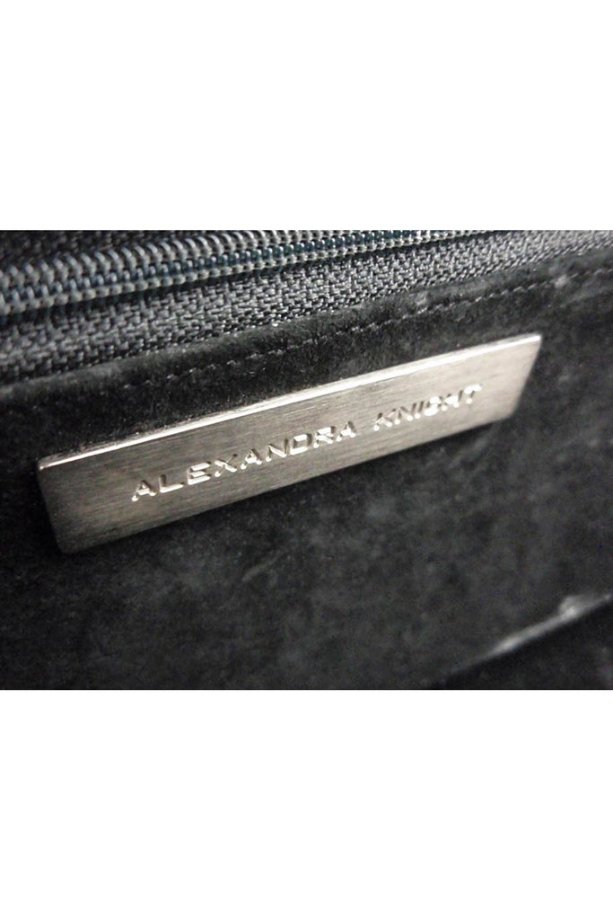 Alexandra Knight Matte Black Alligator Clutch Bag - Style Therapy  - 5
