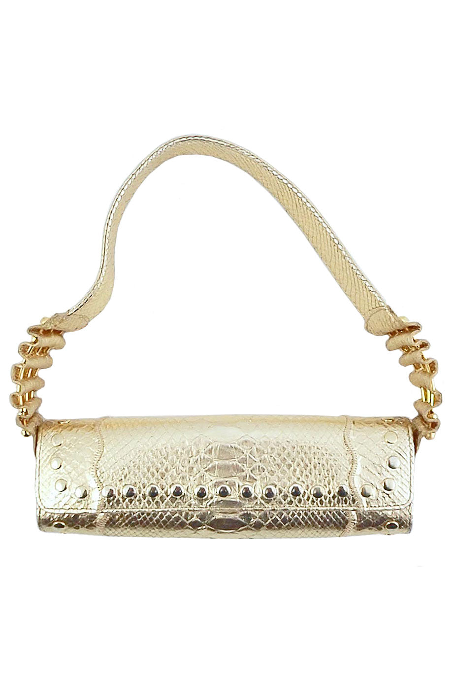 Carlos Falchi Studded Metallic Gold Python Shoulder Bag