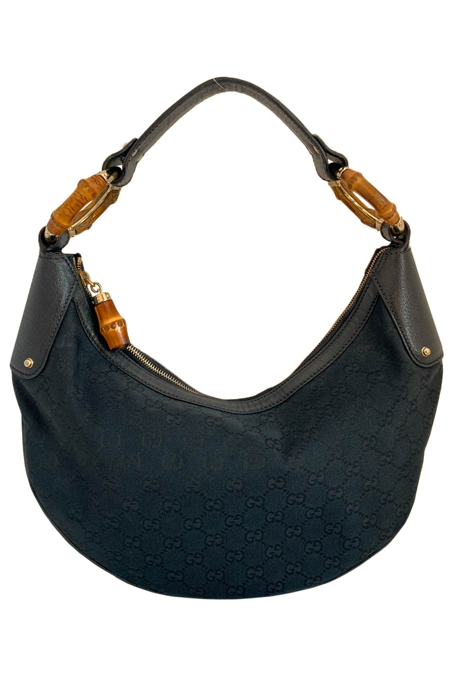 Gucci Black GG Monogram Canvas Bamboo Ring Hobo Shoulder Bag-Style Therapy