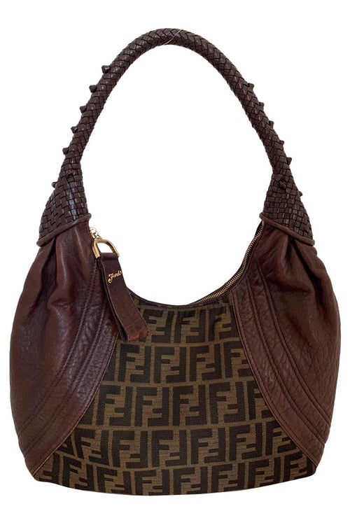 Fendi Tobacco Brown Leather + Zucca Logo Canvas Hobo Spy Bag
