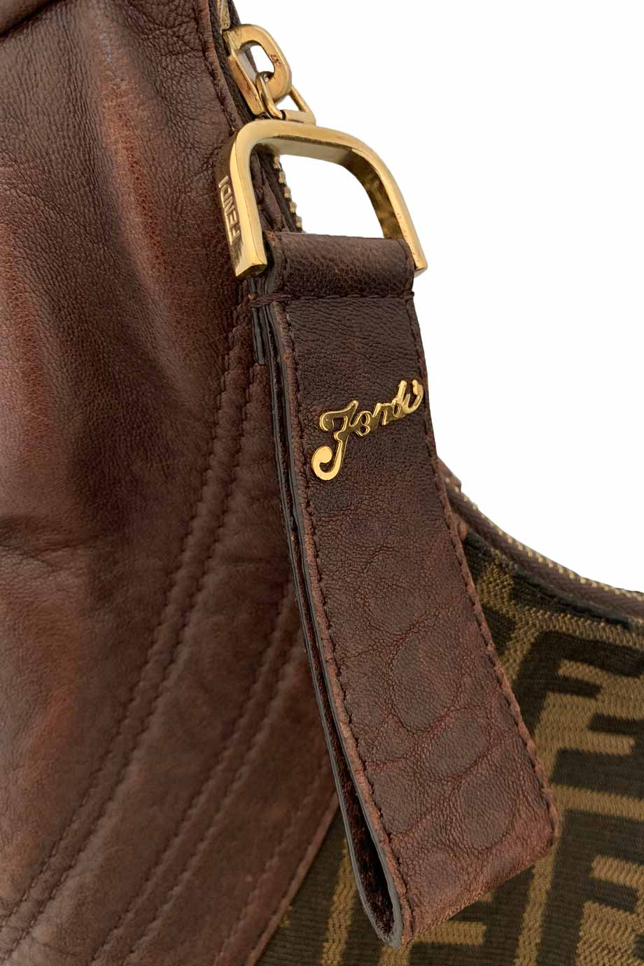 Fendi Tobacco Brown Leather + Zucca Logo Canvas Hobo Spy Bag-Style Therapy