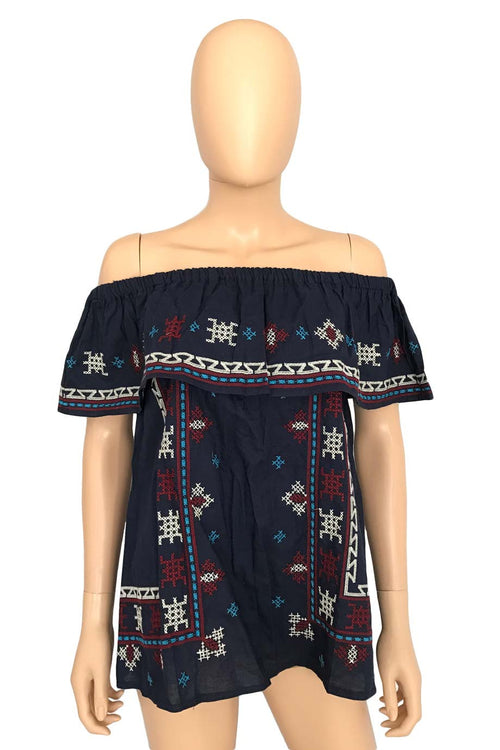 Chicwish Blue Embroidered Off The Shoulder Top / Sz XS
