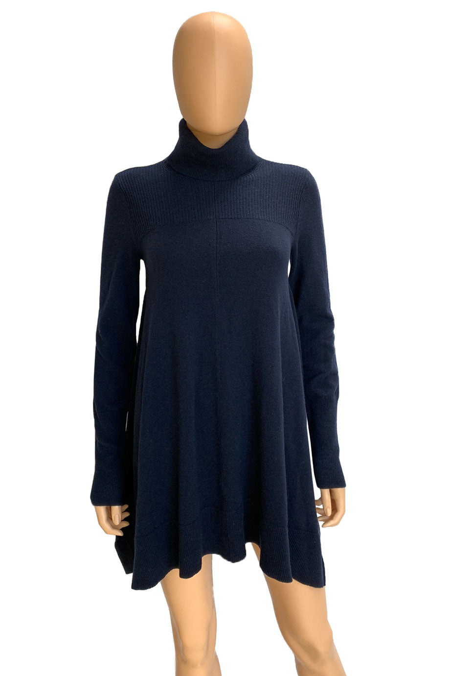 Donna Karan Casual Luxe Navy Blue Tunic Turtleneck Sweater / Sz P
