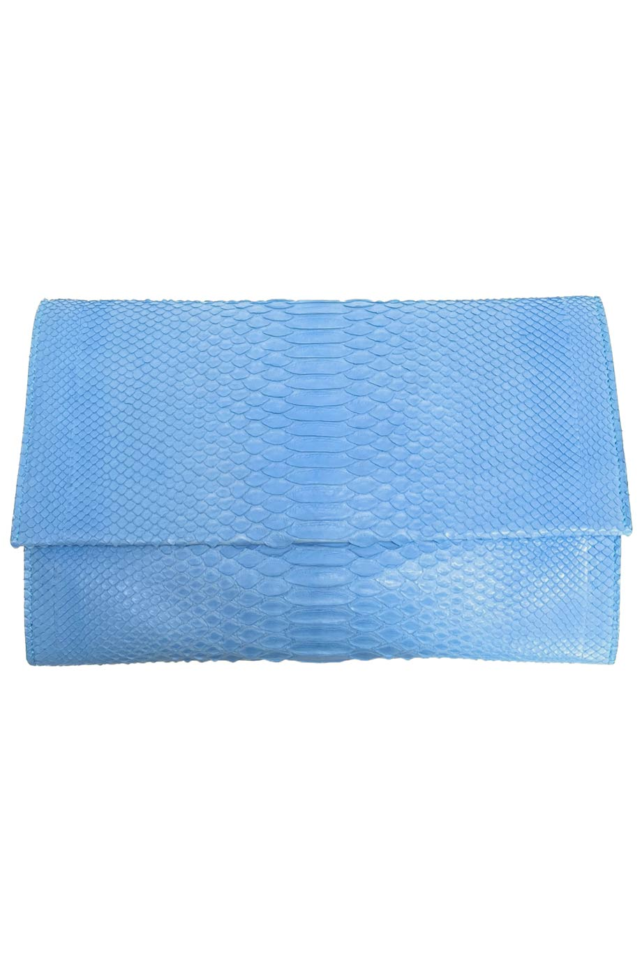 Jonathan Blake Solid Light Blue Python Flap Clutch Bag-Style Therapy
