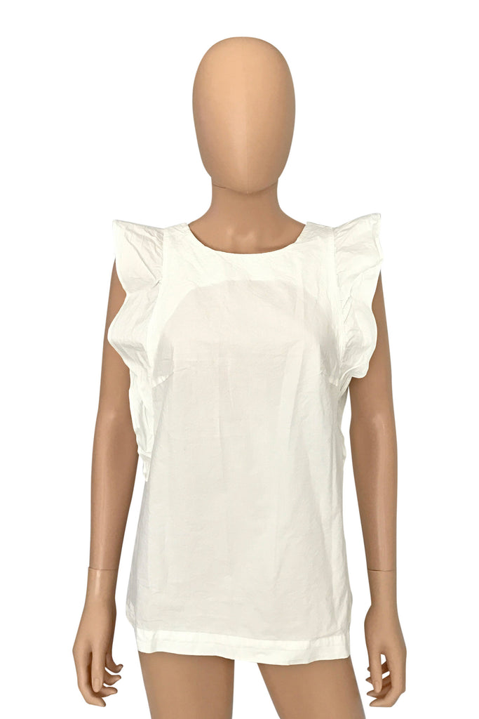 M.I.H. Jeans Ruffled Off-White Cotton Caval Top / Sz S