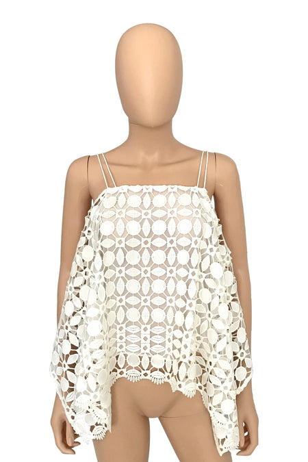 See by Chloe Ivory + Silver Basketweave Tank Top / Sz 2