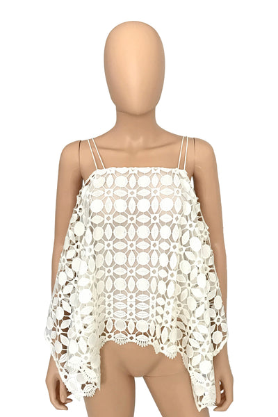 Nicholas White Mosaic Lace Cold Shoulder Top / Sz 2