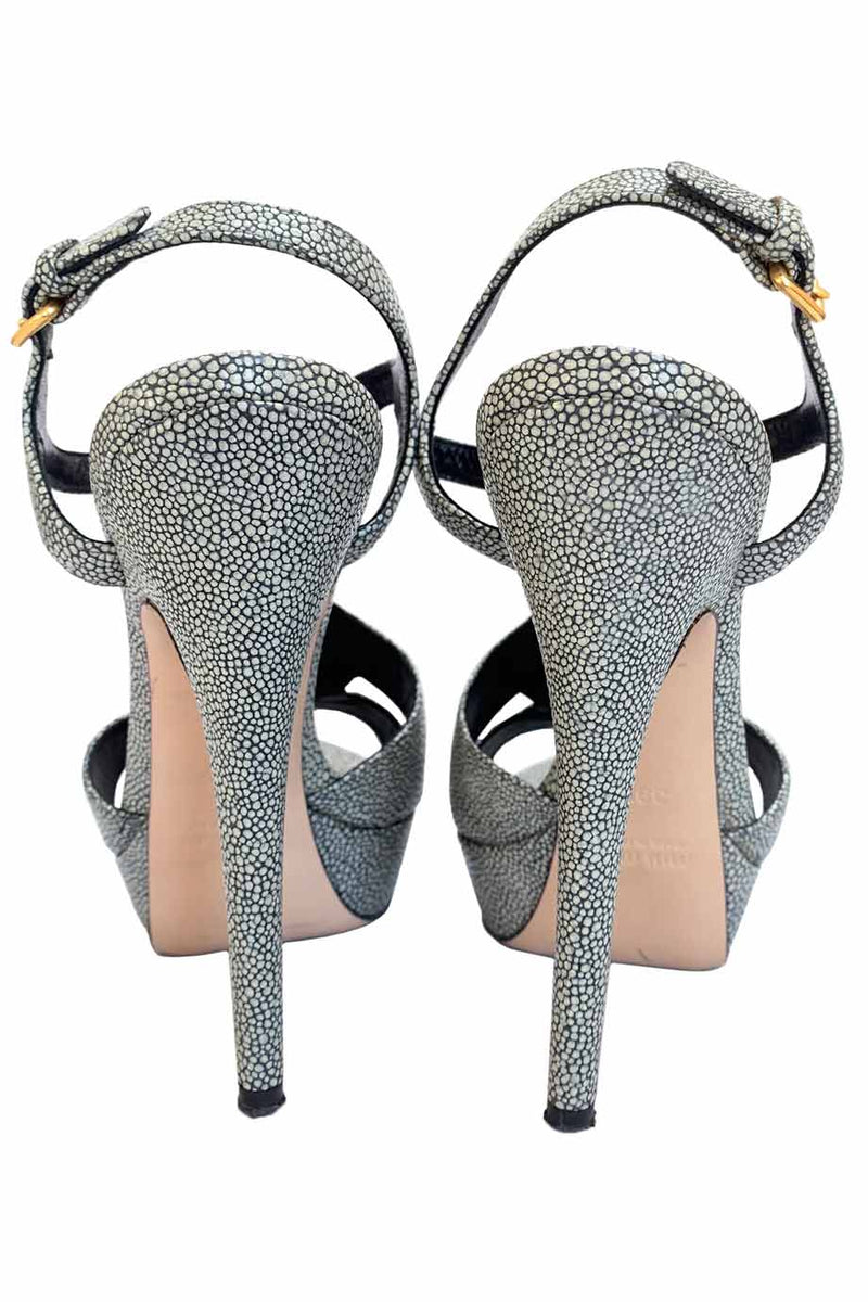 Miu Miu Gray Stingray Leather T-Strap Platform Sandals / Sz 39.5