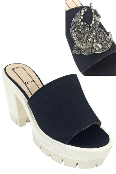 No. 21 Crystal Bird Embellished Black Satin Mules / Sz 36 - Style Therapy  - 1