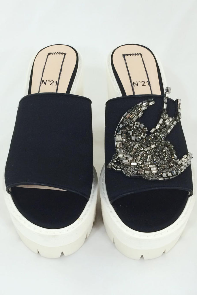 No. 21 Crystal Bird Embellished Black Satin Mules / Sz 36 - Style Therapy  - 2
