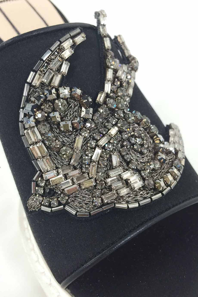 No. 21 Crystal Bird Embellished Black Satin Mules / Sz 36 - Style Therapy  - 5
