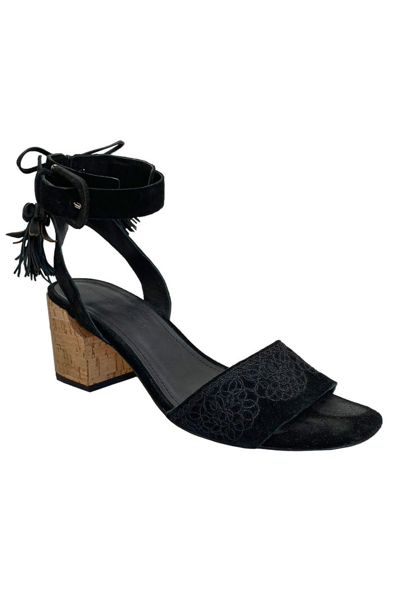 Sigerson Morrison Black Embroidered Suede Riva Tassel Sandals / Sz 8.5