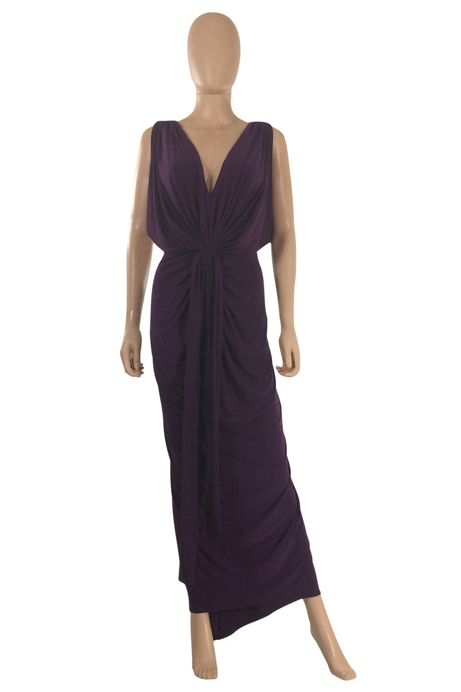T-Bags Los Angeles Draped Purple Jersey Maxi Dress / Sz S - Style Therapy  - 1