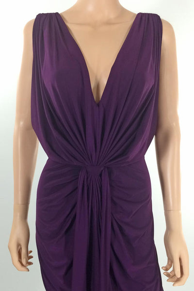 T-Bags Los Angeles Draped Purple Jersey Maxi Dress / Sz S - Style Therapy  - 2