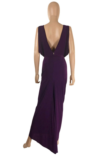 T-Bags Los Angeles Draped Purple Jersey Maxi Dress / Sz S - Style Therapy  - 3